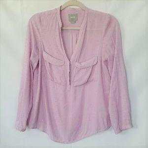 Maeve Size 4 Women's Button Up Shirt Lavender